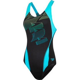 speedo Boom Placement Racerback Traje de Baño Mujer, black/aquasplash/bright zest